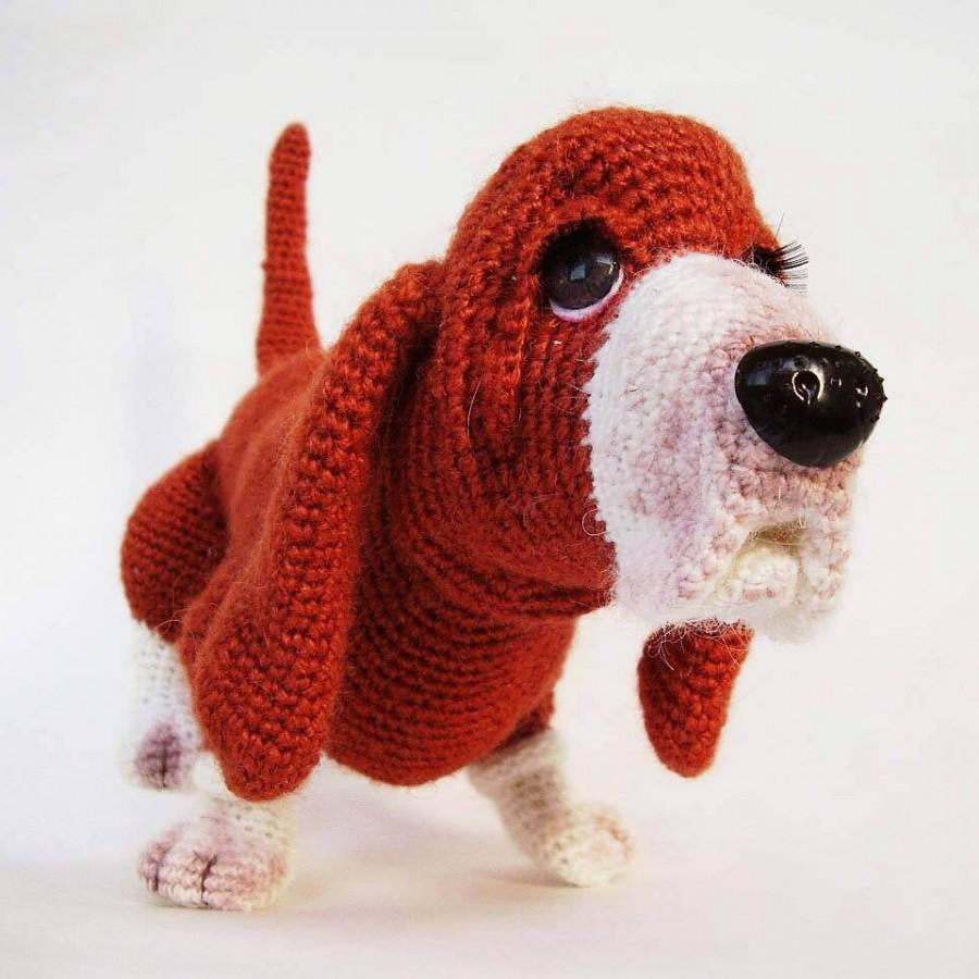 Crochet Red Dog Stuffed Dog Hand Knit Puppy Amigurumi Dog Hand Knit