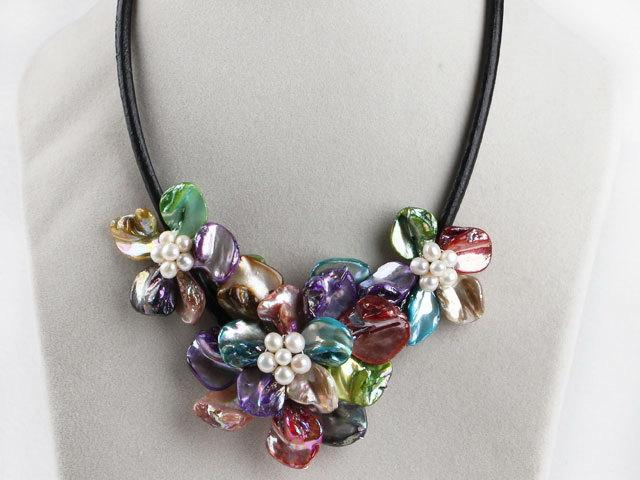 Mariage - Handmade Jewelry handmade Necklace Shell Necklace Floral Necklace Multicolored Necklace Floral Necklace Floral Bib Necklace Folral Choker