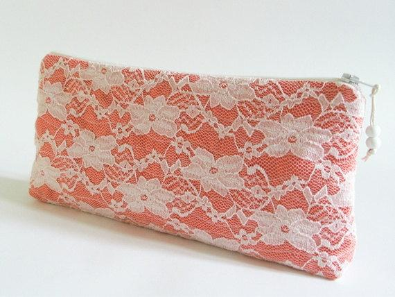 Hochzeit - Will You Be My Bridesmaid Gift Bag, Ivory Lace on Coral Clutch, Bridesmaid Lace Purse, Coral Wedding Accessory Bag