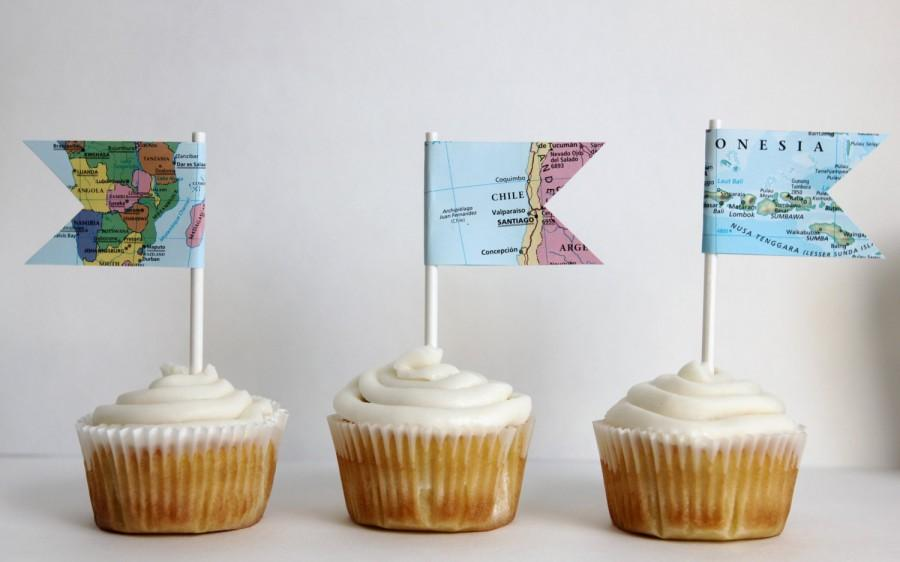 Mariage - Set of 12 map cupcake toppers, flag, travel theme