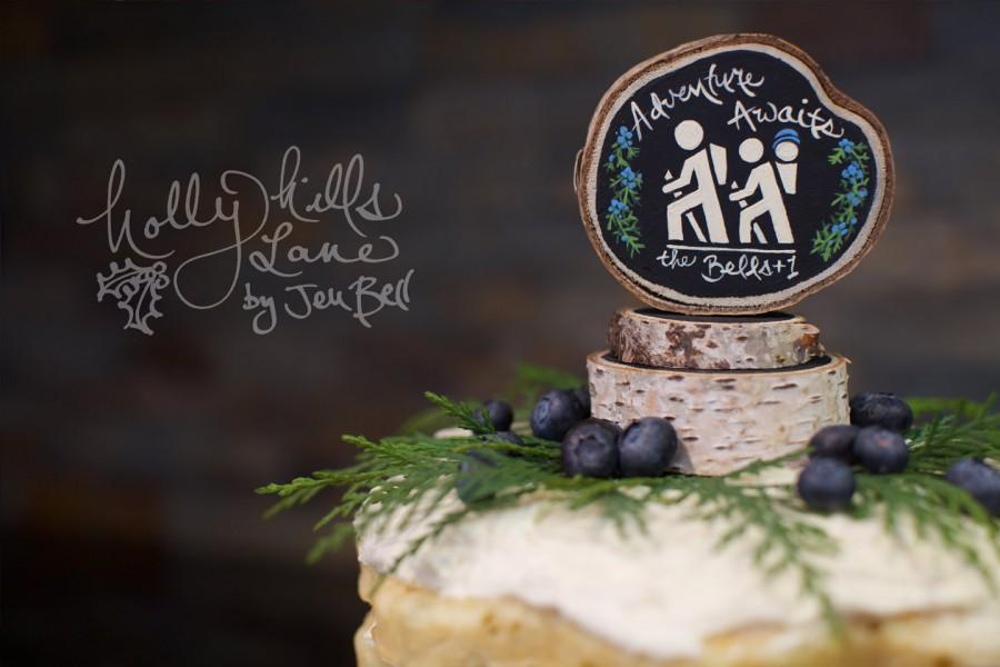 Hochzeit - Rustic Woodland Hiking Cake Topper Nature Wedding Camp Baby Shower Outdoor Favor Bridal Party Gift Hike Kayak Wood Slice Boho Forest Black