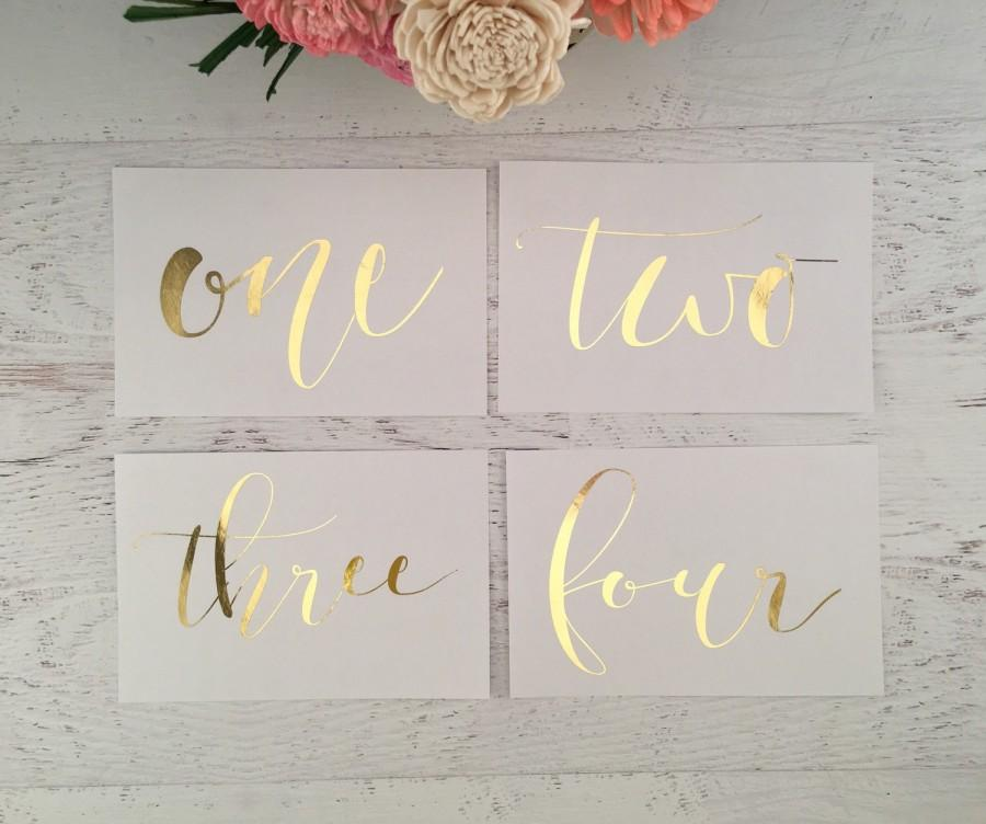 Boda - Gold Table Numbers - Table Markers - Wedding Table Decor - Gold Table Decor - White Table Markers - Gold Foil Table Markers - Gold Wedding