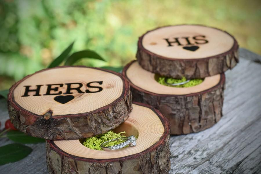 Hochzeit - Wedding Ring Bearer Pillows- His and Hers ring boxes, woodland wedding boxes, ring pillow alternative, Perfect for rustic weddings