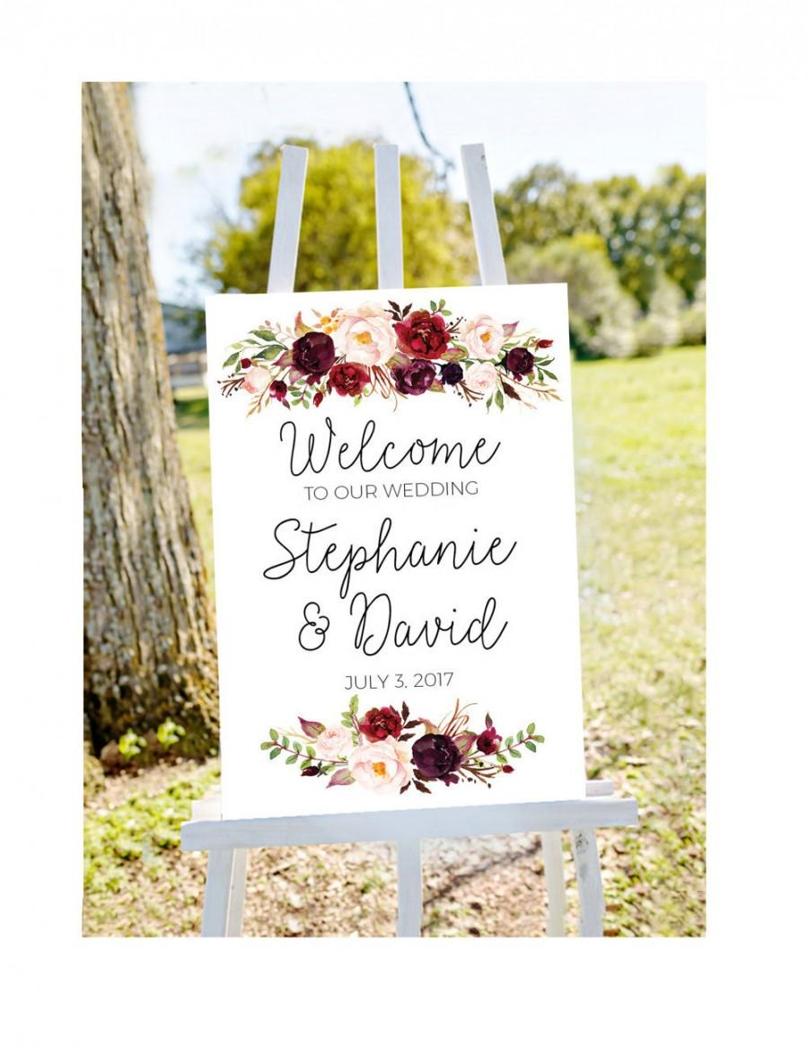 Hochzeit - Wedding welcome sign, printable wedding sign, welcome to our wedding sign, wedding signs, large wedding sign, large welcome sign, PRINTABLE