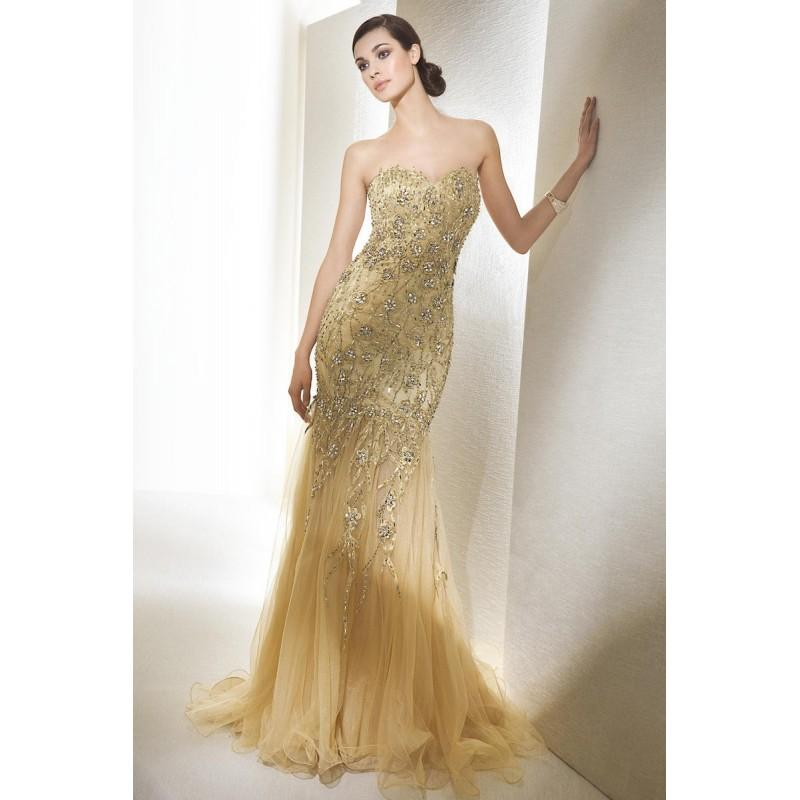Cheapest Long Strapless A Line Sleeveless Gold Prom