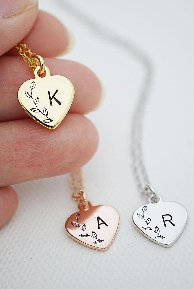Wedding - Heart Personalized Necklace Initial Necklace Heart Necklace Bridesmaid Gift Dainty Charm Necklace Bridesmaid Necklace Gift For Her Wedding