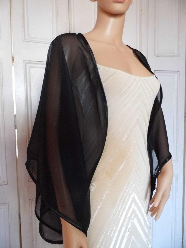 02d97d179dd1c Black Chiffon Kimono/jacket/wrap/cover-up/bolero With Satin Edging ...