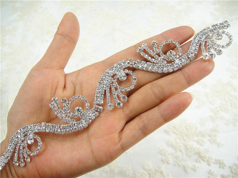 Düğün - Rhinetones trim for dress, cake, accessory, bridal Sash applique,  Bridal Crystal Applique, Wedding Rhinestone Applique,  wedding belt