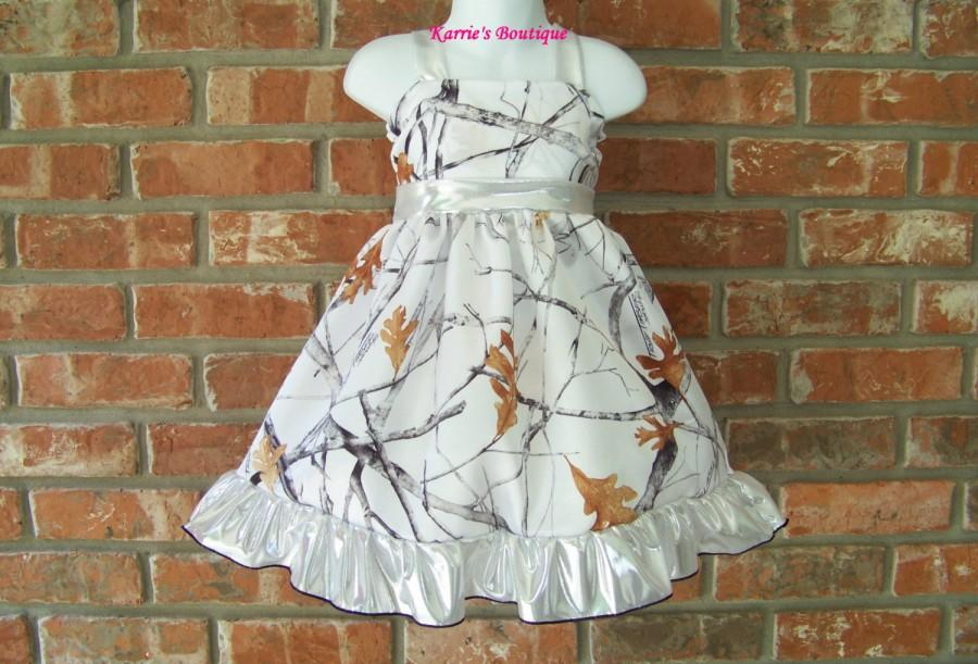 Mariage - CAMO Flower Girl Dress / Snow Camo + Silver / Satin / Pageant / Wedding / Bridesmaid / Infant/ Baby/ Girl/ Toddler/ Custom Boutique Clothing
