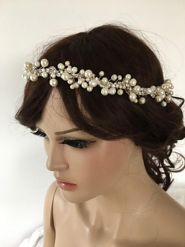 Hochzeit - EXPRESS SHIPPING Ivory pearl and rhinestones headband, bridal headband, headpiece, wedding hairband - $62.90 USD