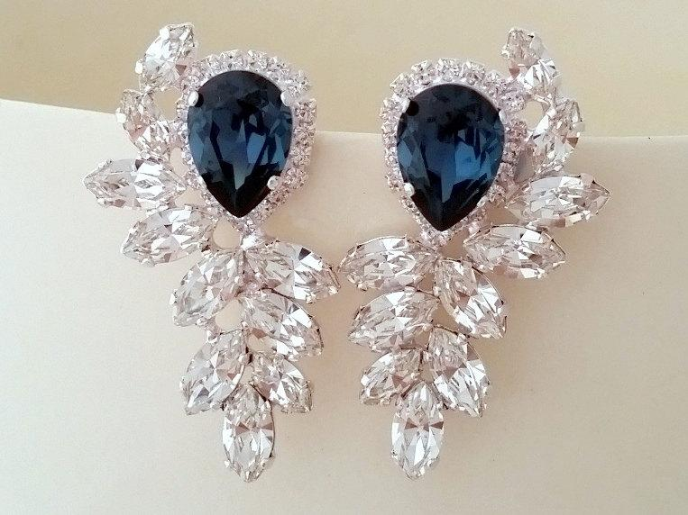 Wedding - Navy blue earrings,navy blue bridal earrings,navy blue Statement earrings, Extra large cluster earrings,Swarovski earrings, silver or gold
