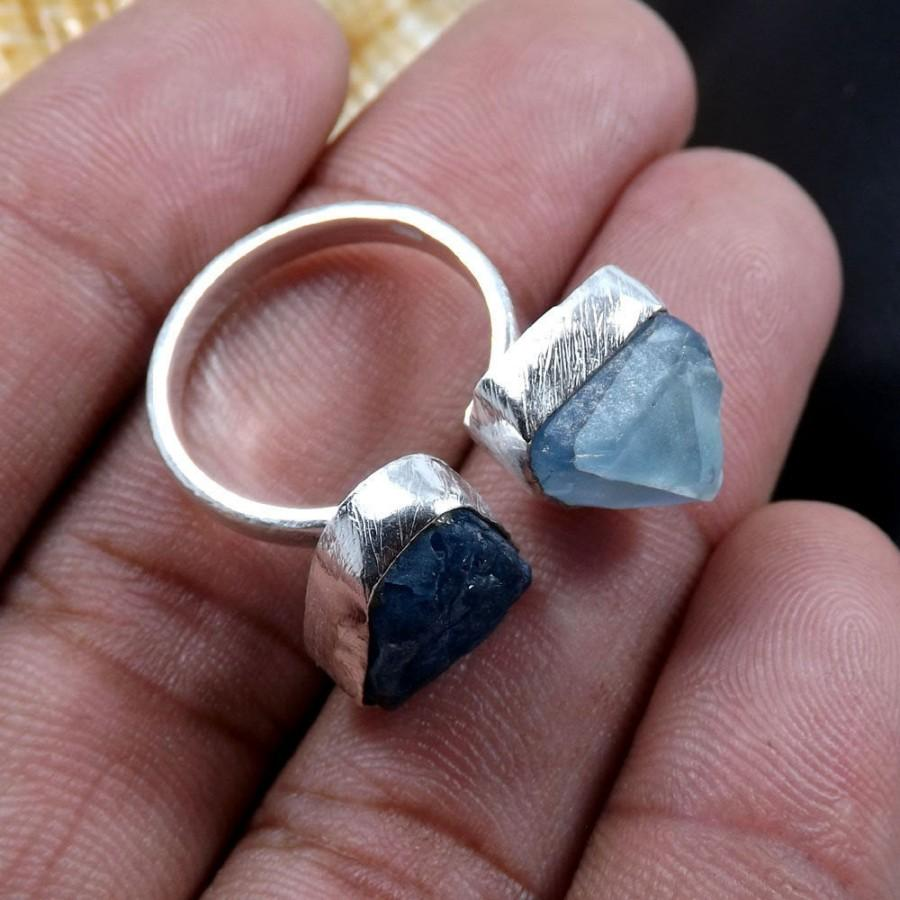 Düğün - Rough Apatite Ring, Rough Fluorite Ring, Adjustable Ring, Solid Silver Ring, Fine Silver Ring, Birthday Gift Ring, Women Silver Ring, Rings