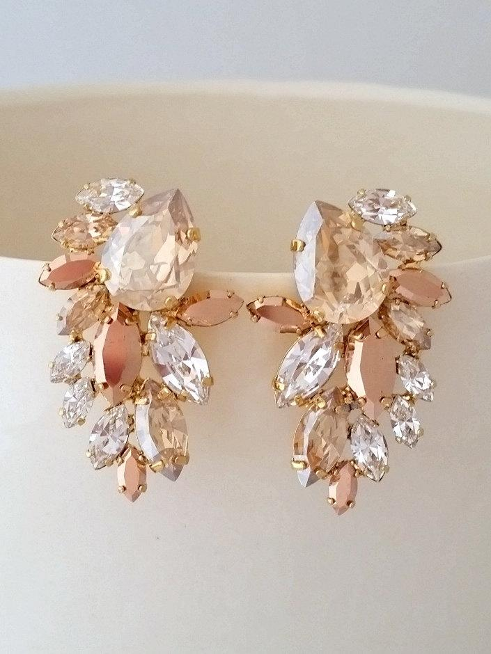 Boda - Champagne earrings,Champagne studs,Champagne rose gold Bridal earrings,Statement earrings,Extra large cluster earrings,Swarovski earring