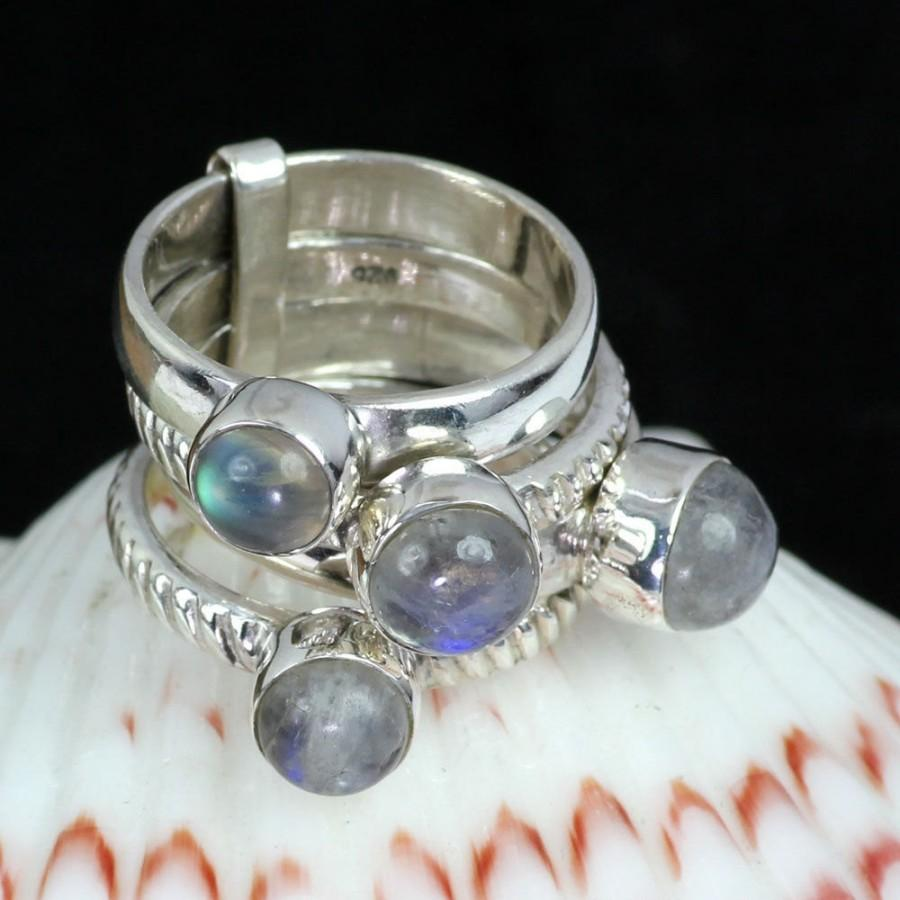 Wedding - Rainbow Moonstone Ring, Rainbow Moonstone, Stacking Ring, 925 Sterling Silver, Blue Fire Rainbow Ring, Unique Ring, 4 Pcs. Set Ring