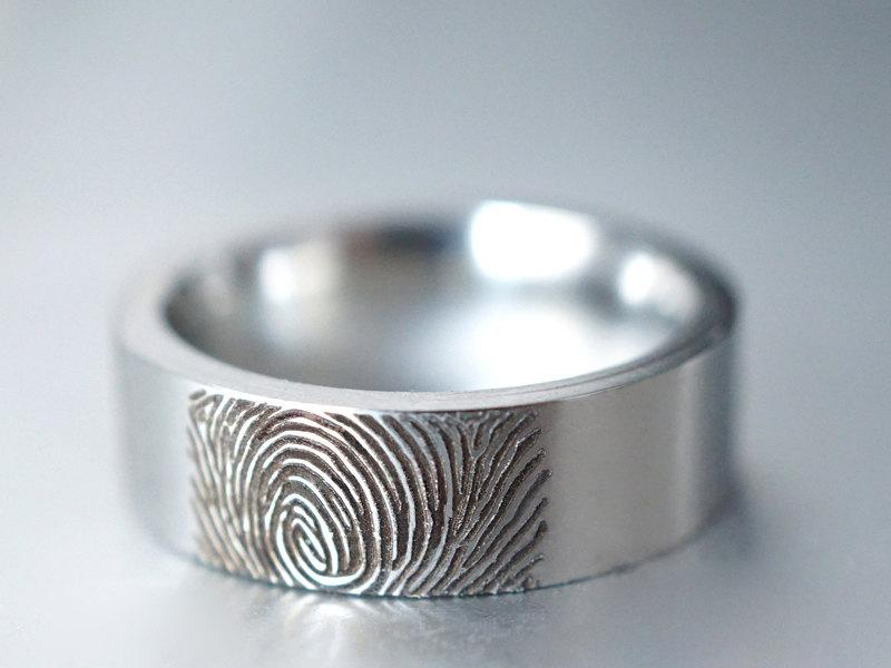 Wedding - Actual Fingerprint Ring, Custom Finger Print Ring, Wedding Band, Engraved Ring, Silver Memorial Jewelry, Stainless Steel Ring