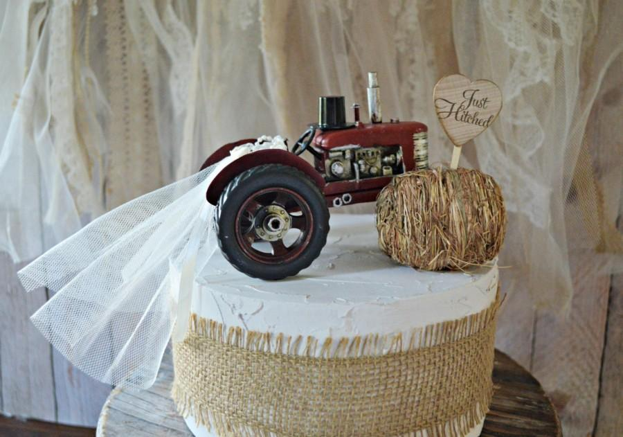 Farm Tractor Wedding Cake Topper Barn Country Farmer Cow Hay John Deere Themed Fall Bride And Groom Just Hitched Sign Mr Mrs