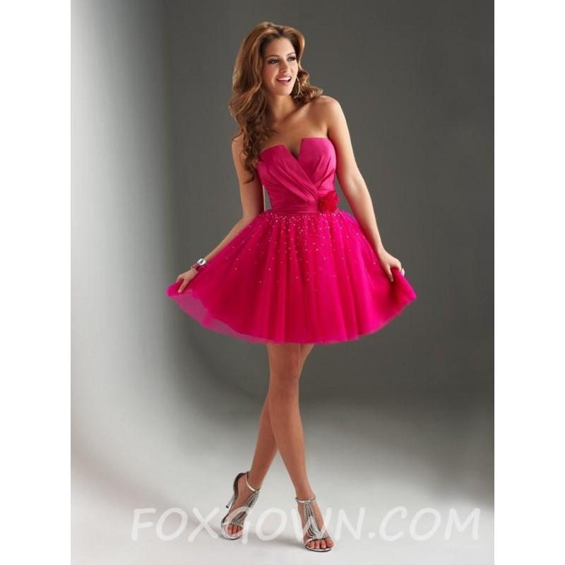 V Ausschnitt Kurze Prom Kleid Mit Tull Rock Festliche Kleider