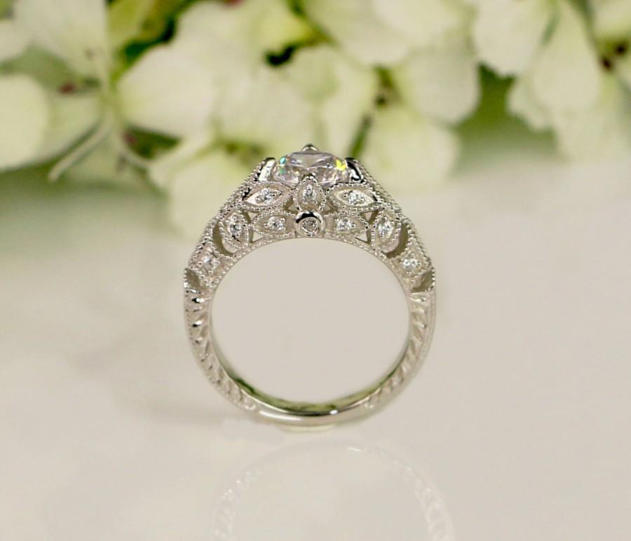 Wedding - Vintage Style Engagement Ring - Art Deco Ring - Wedding Ring - Promise Ring - Cubic Zirconia Ring - Sterling Silver