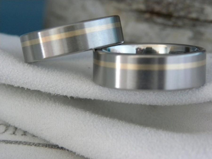 Boda - Matching Bands, Ring SET, Titanium with Yellow Gold Offset Inlay Stripe