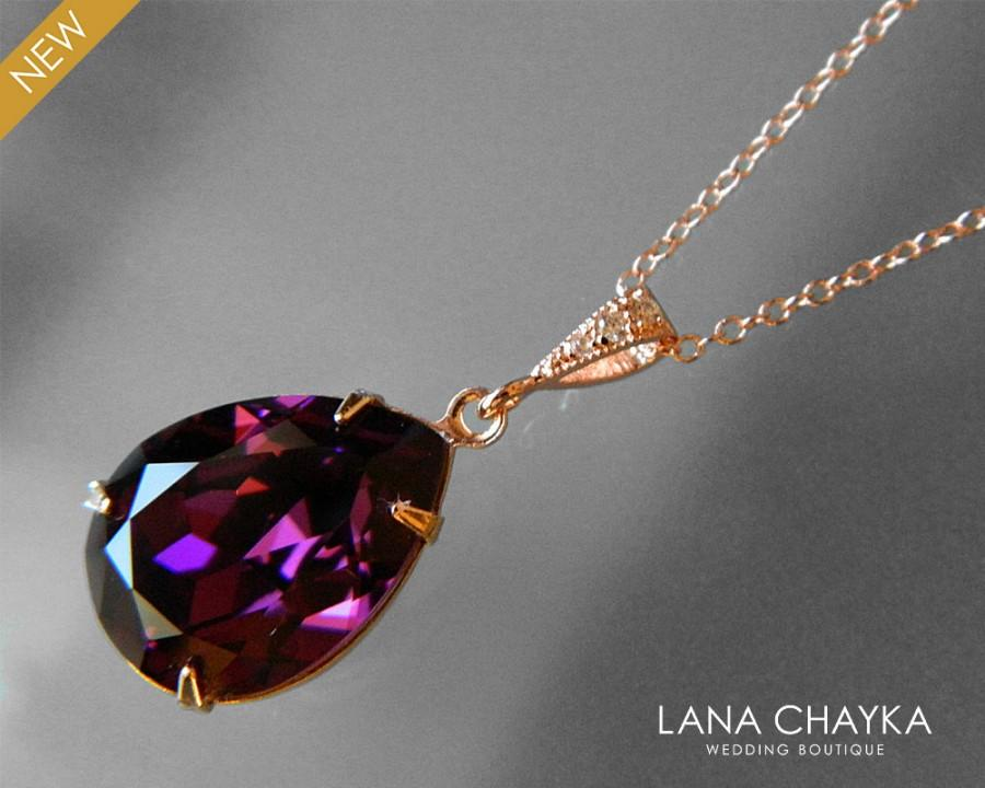 Wedding - Amethyst Rose Gold Teardrop Crystal Necklace Swarovski Amethyst Purple Rhinestone Rose Gold Necklace Wedding Amethyst Jewelry Bridal Jewelry