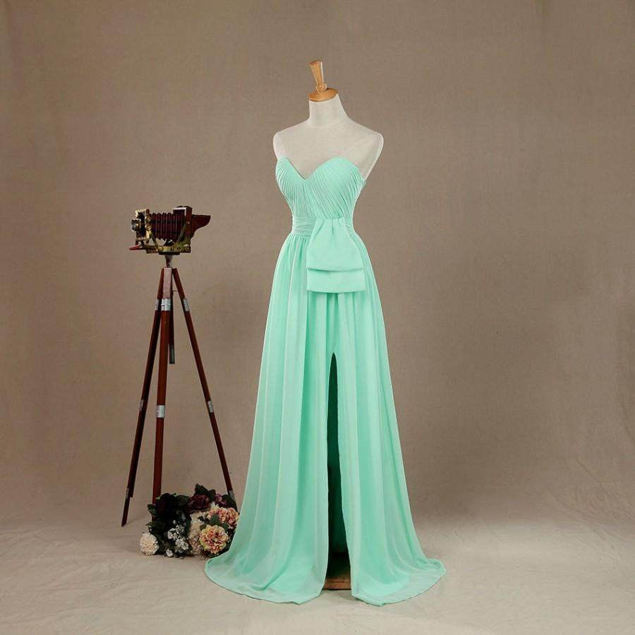 Wedding - Mint Long Bridismaid Dress, Sweetheart Dress, Wedding dress, Evening Gown, Strapless Prom dress, Elegant Dress Floor Length