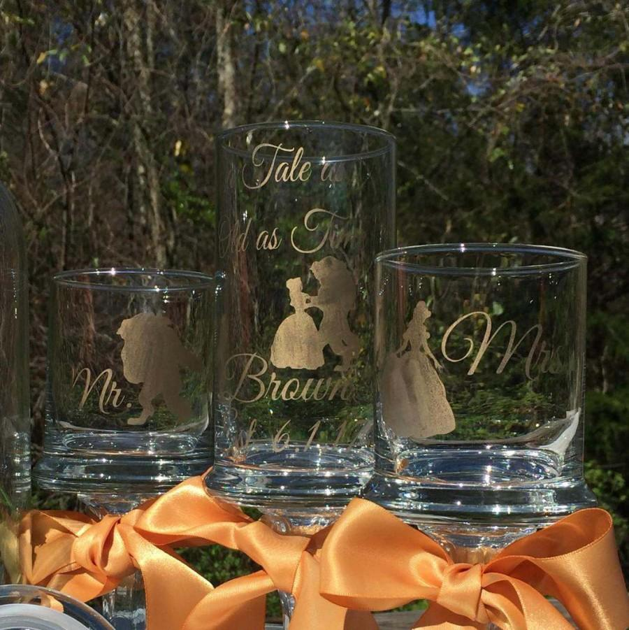 """Wedding - Unity Sand Set """"a Tale as Old as Time"""" Personalized Mr. Mrs. Pedestal Apothecary Gold Painted Glass Ceremony Fairy tale Wedding - $44.99 USD"""
