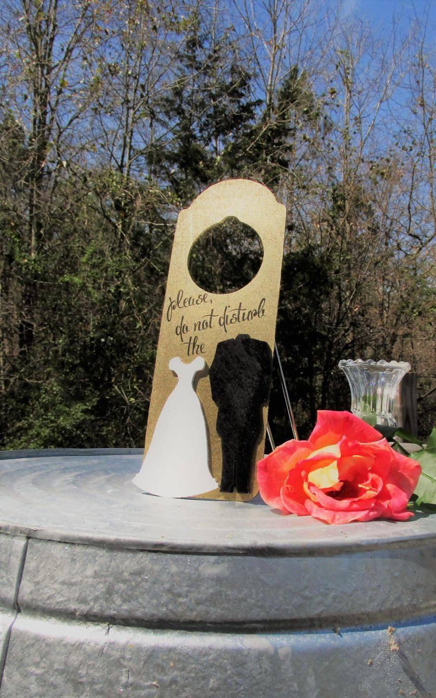 Wedding - Please, Do not disturb the Bride & Groom Gold Painted Wood Wedding Night Door Hanger Fun Sign Honeymoon Newlyweds - $14.99 USD