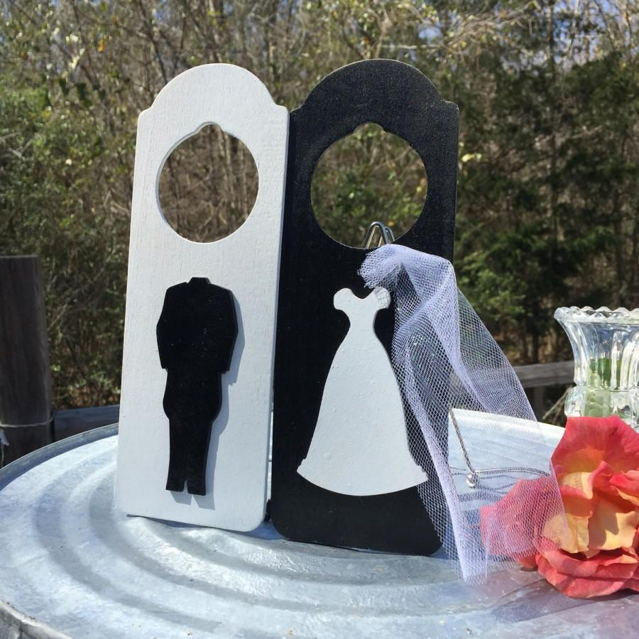 Wedding - Bride or Groom Dressing Room Painted Wood Wedding Door Hanger Signs Bachelor or Bachelorette Party Groomsmen Bridesmaids' Great Gifts - $12.99 USD