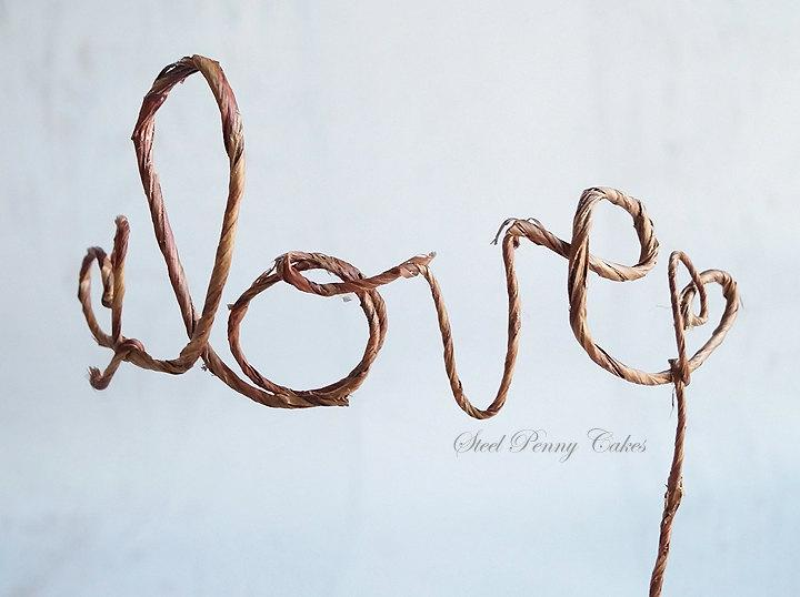 Düğün - Rustic Wire Love Wedding Cake Topper (Ready to ship!)