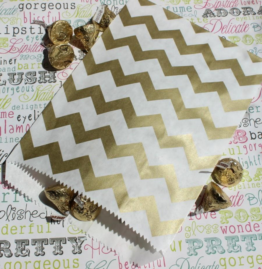 Boda - 75 Gold Chevron Party Bags, Gold Wedding Candy Bags, Gold Popcorn, Favor, Gift Bags, Paper Goods, Gold Candy Bags