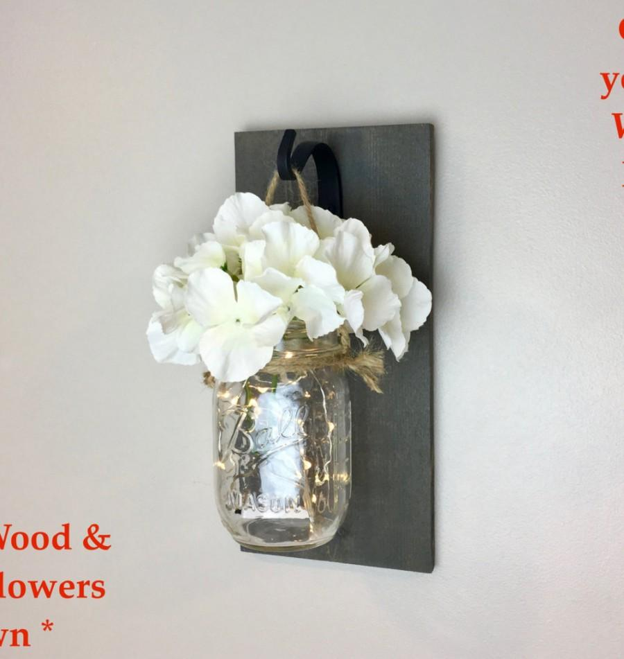 Wedding - Mason Jar Wall Decor, Decorative Wall Hanging, Mason Jar Sconce, Wall Sconce, Rustic Home Decor, Country Decor, Mason Jar Decor, Ball Jar