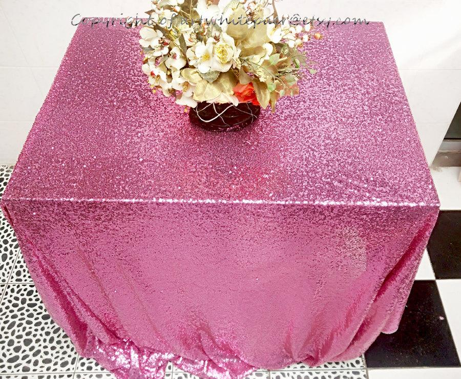 Wedding - Rose Pink Sequin Glitz Tablecloth Rectangle Round Dinner,Party,Wedding-Custom,23color,Table Runner,Pillow,Photography Backdrop,GET FREE GIFT