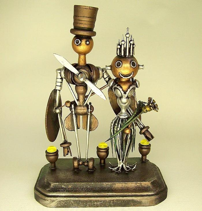 Mariage - Steampunk Airplane Robot Wedding Cake Topper Sky Captain Aviation Wedding Sexy Flight Attendant Bride Crown Wood Statues Runway Base