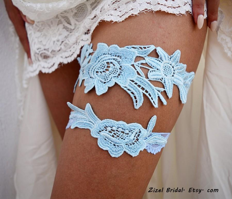 Hochzeit - Garter Set, Wedding Garter Blue, Light Blue Garter, Wedding Garter, Bridal Garter, Something Blue, Wedding Gift, Handmade Garter, Garter Set