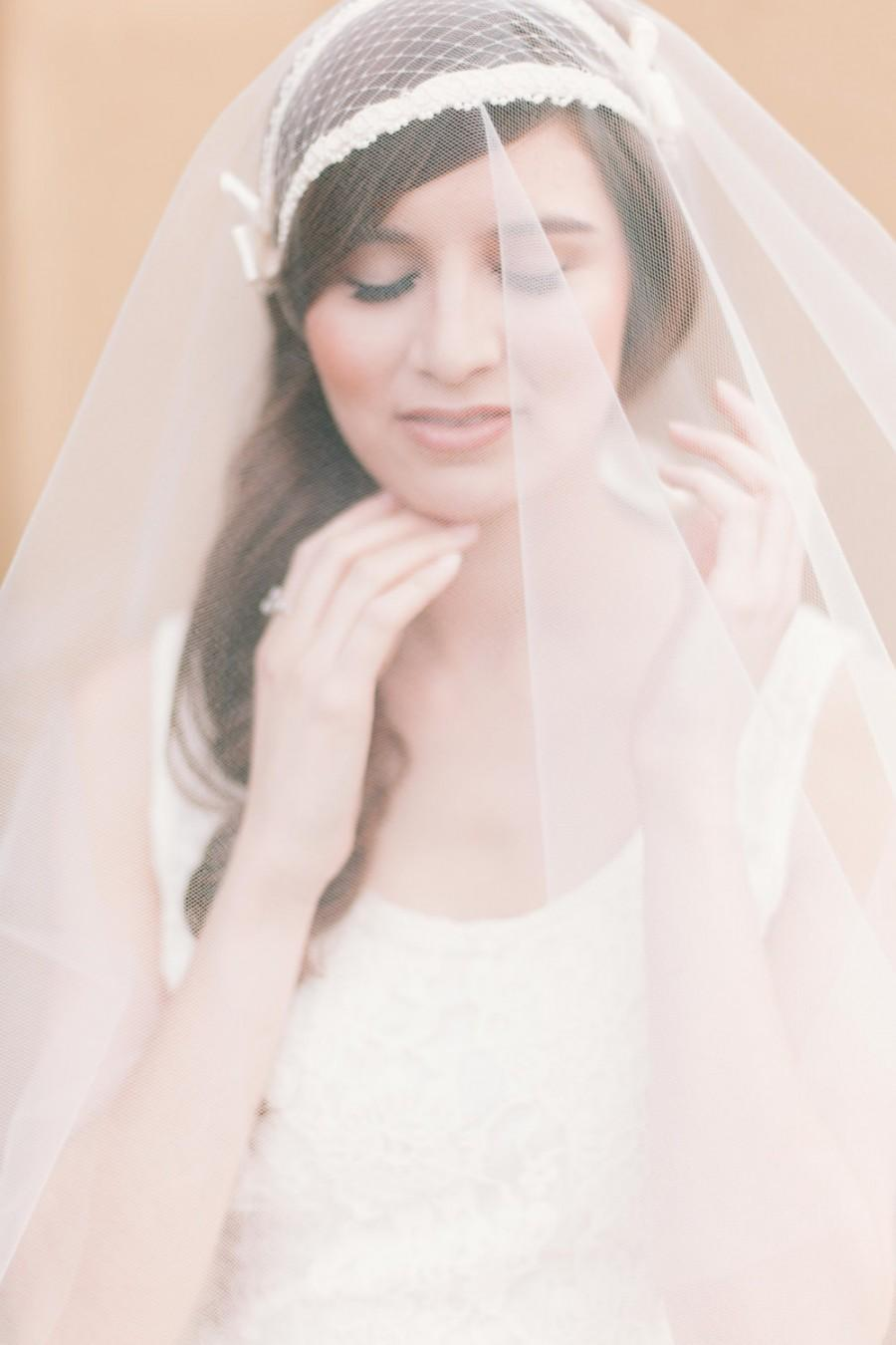 Mariage - Cap veil with drop veil art deco bridal cap veil circular drop veil ivory juliette cap veil round drop veil raw edge Ivory or white