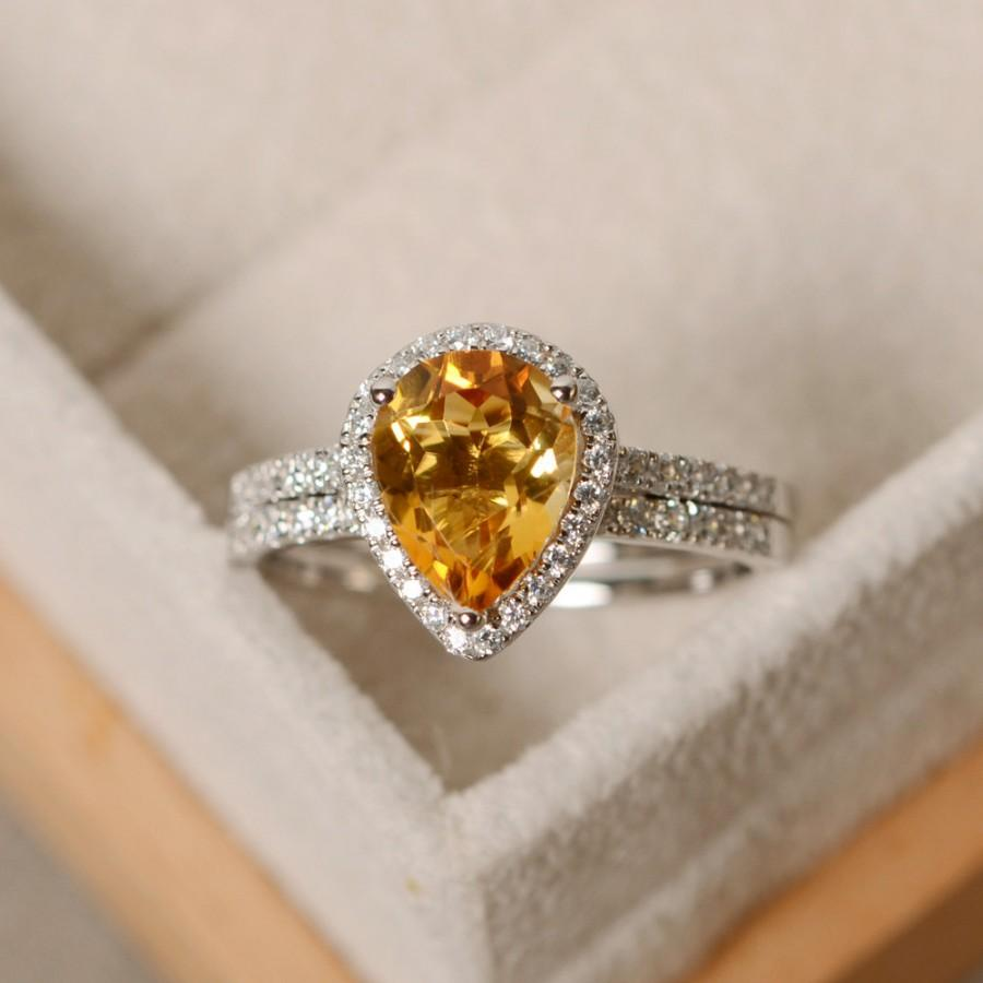 Mariage - pear citrine ring, engagement ring, sterling silver, finished with rhodium, promise ring
