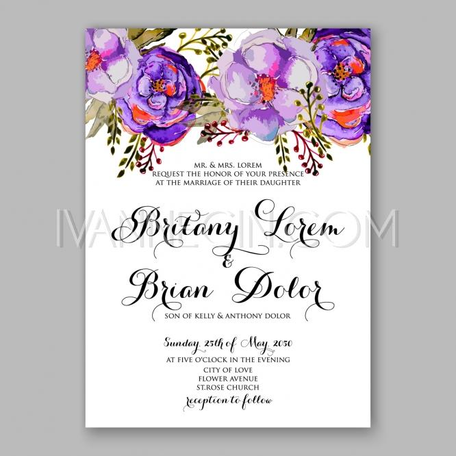 Watercolor Rose Peony Anemone Wedding Invitation Card Template