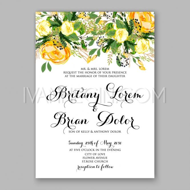 Wedding invitation card template yellow rose floral for Yellow bridal shower invitations