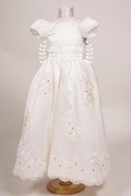 Hochzeit - Ivory or White Stunning Satin Flowers girls dress heirloom Baptism dress Christening Gown includes Hat