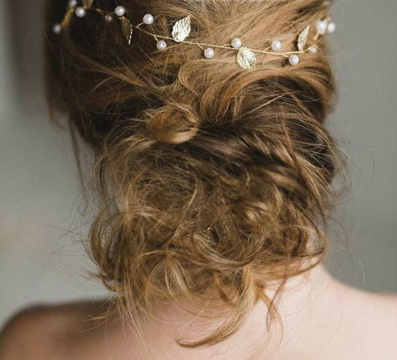 Düğün - Gold Leaf headband with Yellow Silk or White Ribbon, Art deco bridal headpiece, Pearl Wedding halo, Leaf tiara, Gold, Wedding Hair Vine