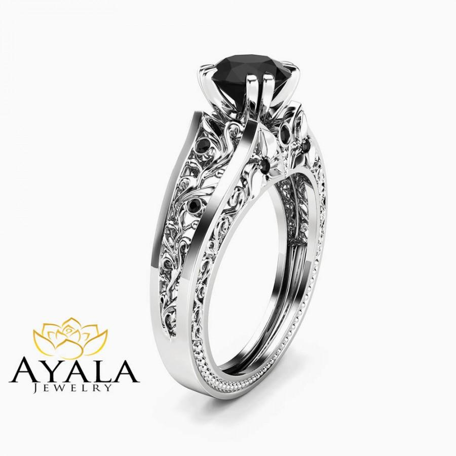 Wedding - 1 Carat Black Diamond Unique Engagement Ring 14K White Gold Filigree Ring Conflict Free Natural Black Diamond Ring