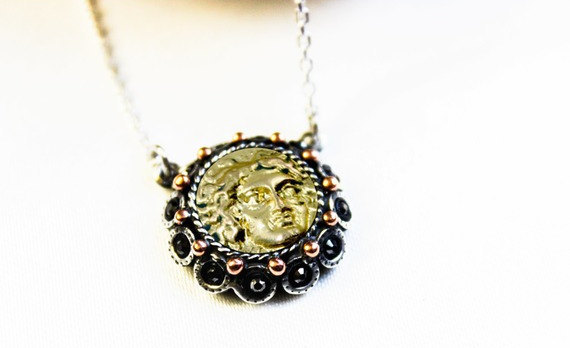 Boda - Jewelry, Necklace, Silver Coin Necklace, Men Necklace, Women Necklace, Ancient Coin Necklace, Mens Jewelry, Womens Jewelry,  Pendant