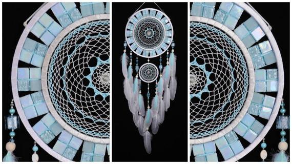 Wedding - Light Mint Dream Catcher mentol Dreamcatcher silver Dream сatcher gift idea dreamcatcher boho dreamcatcher wall handmade gift Dreamcatcher