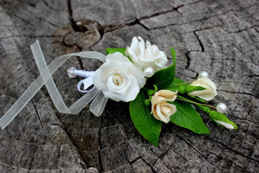 Hochzeit - Wedding Barrette - Rose Barrette - Floral Barrette - White Wedding Barrette - Cold Porcelain Flowers - Handmade Hair Accessories