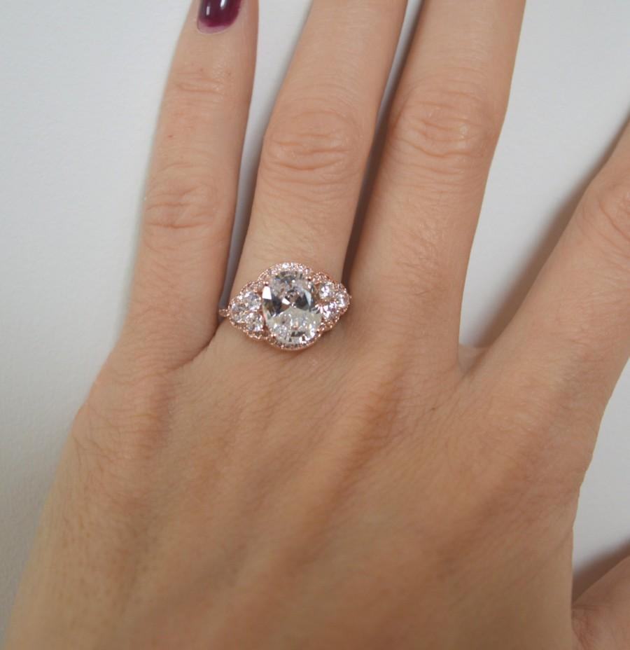 Boda - Rose Gold Art Deco Engagement Ring, 14k Oval Engagement Ring, 2ct Cubic Zirconia Ring, Halo Engagement with Side Stones