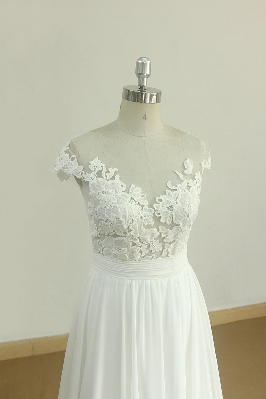 Wedding - Flowy A line ivory chiffon lace wedding dress, beach wedding dress with capsleeves and illusion neckline