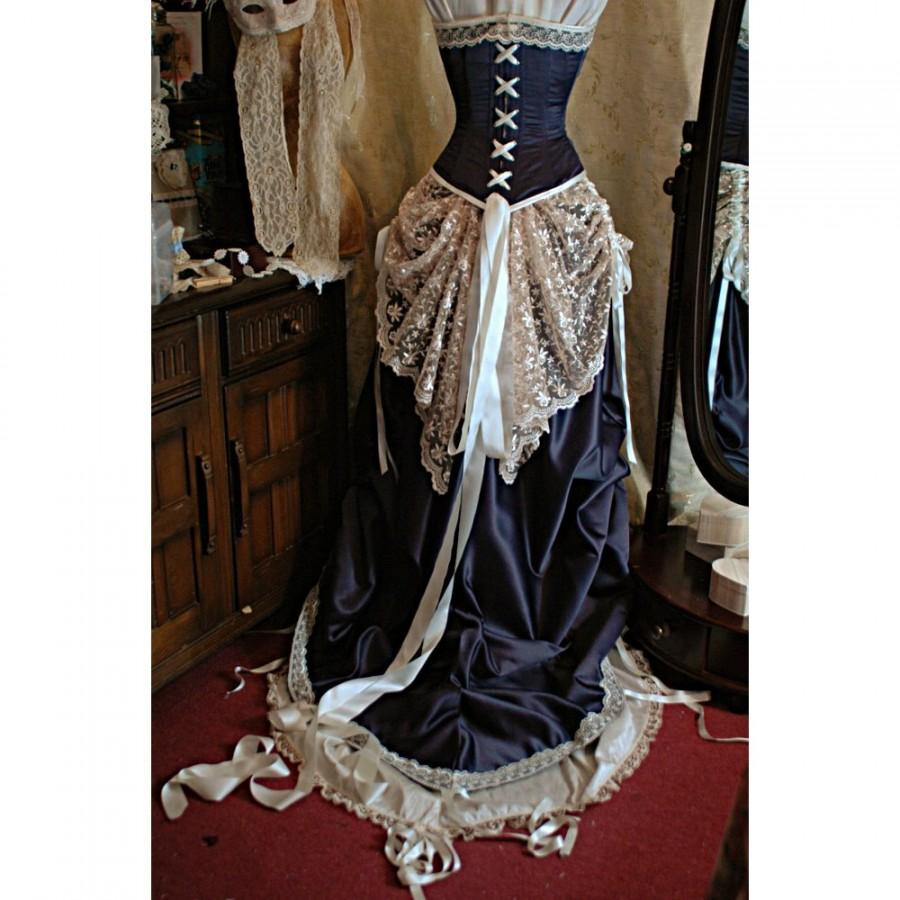 Boda - Julianna - Custom made Grape duchess satin and Ivory lace Bridal gown with steel boned corset