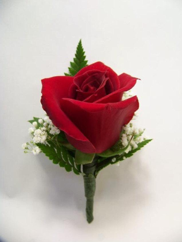 Boda - Red Open Rose  Boutonnière FREE Shipping