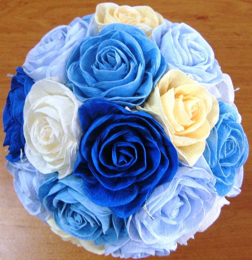 Wedding - wedding bouquet White Royal Navy Blue wedding Reception  paper flowers bouquet rose aqua Bridal bridesmaid flowers girl bouquet baby shower