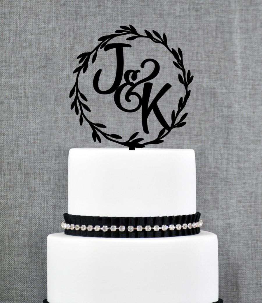 Mariage - Rustic Cake Topper, Laurel Cake Topper, Two Initials, Wedding Monogram, Wedding Initials, Initials Cake Topper, Custom Cake Topper (T321)